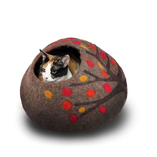 "Wool Cat Cave and Bed - Eco Kitty Cave - eco friendly, fair trade, handmade, organic cat bed and hideout - 20"" extra large (X-Large, Orange Crush)"