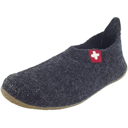 Noir Schweizer chaussons Kitzbühel d'intérieur enfant Slipper Kreuz Living mixte qZUwH7Ax