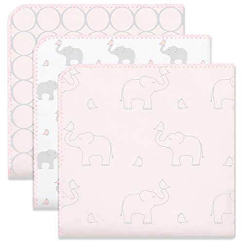Mod Circles Pink (SwaddleDesigns Ultimate Swaddle Blankets, Set of 3, Mod Circles and Elephants, Sunwashed Pink)