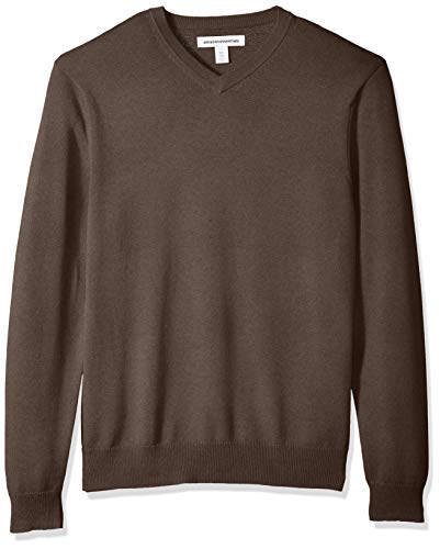 Brown Heather Sweater - Amazon Essentials Men's V-Neck Sweater, Brown Heather, X-Small
