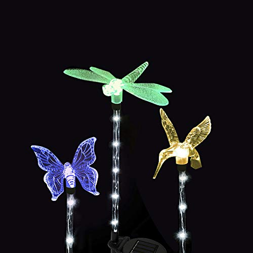 Solar Garden Decoration Lights - Dolucky Upgraded Color Changing LED Solar Lights with Transparent White LED Light Tube for Outdoor Decoration, 3 Pack (Hummingbird, Butterfly, Dragonfly)