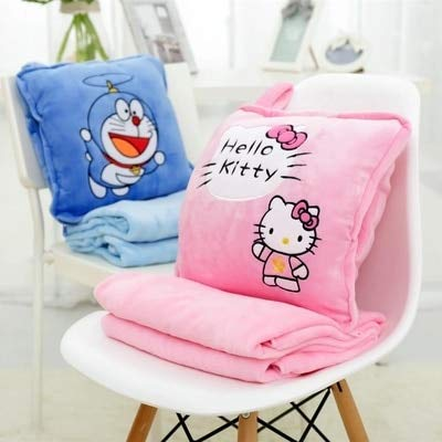JIANCAICHEN 10 Models Hello Kitty Pillow Soft Plush Emoticon Round Cushion Home Decor Cute Cartoon Toy Doll Decorative Pillow with Blanket 1pcs