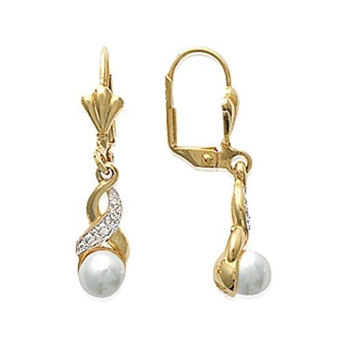 ISADY - Bruna Gold - Boucles d'oreille - Pendants - Plaqué Or 750/000 (18 carats) - Oxyde de zirconium - Perle blanche
