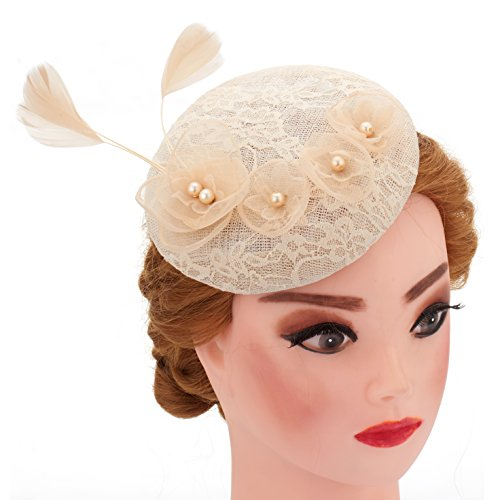 Lace Flower Fascinator Wedding Hair Clip Headpiece Cocktail Party Headwear With Net (Beige) - Vinta Festival Costumes