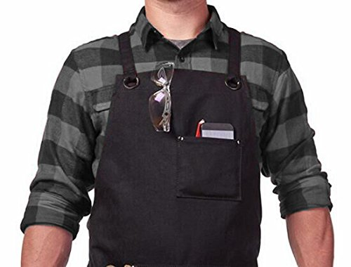 Dadidyc Tool Apron with Pockets Adjustable Heavy Duty Waxed Canvas Shop Apron Work Apron Fits Men and Women by Dadidyc (Image #2)