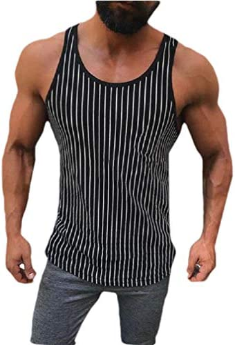 Mens Casual Leisure Stripes Slim Sports Round Neck Vest Shirt