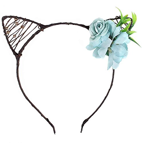 Ahugehome Cat Ears Elf Rose Daisy Flower Headband Hairband Costume Halloween Hair Hoop (E Light Blue) - Daisy And Gatsby Halloween Costume