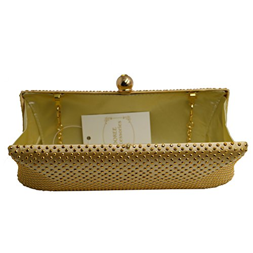 DOREE Womens Evening Clutch with Rhinestone and Crystal Evening Bag Gold by DOREE (Image #3)