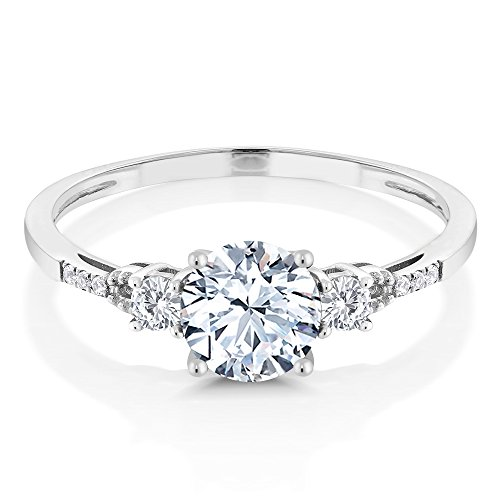 10K White Gold Diamond Accent Three Stone Women's Engagement Ring set with Hearts And Arrows White Created Sapphire (1.35 cttw, Available in size 5, 6, 7, 8, 9)