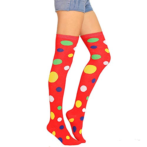(Womens Girls Long Over Knee Thigh High Socks Crazy Fun Colorful Vibrant Polka Dot Costume Clown Cosplay Party Stocking)