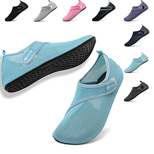 VIFUUR Womens Mens Water Shoes Adjustable Mesh Aqua Socks for Outdoor Swimming Beach Surfing Magic Buckle Cyan 38/39 - Mesh Water Shoes