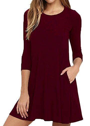 Bestisun Women's Plain Half Sleeve Simple Loose Flowy Casual Womens Dresses Knee Length Dress Compare with Jeans And Boots Wine Red XL