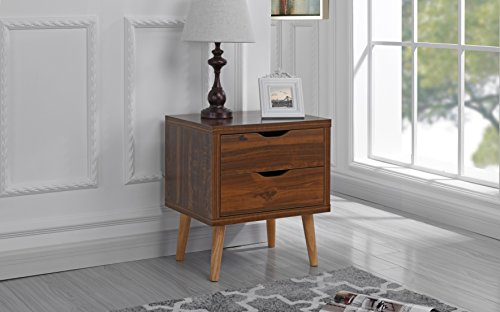 Mid Century Modern Nightstand / Side Table with 2 Drawers 410R2g2AQpL