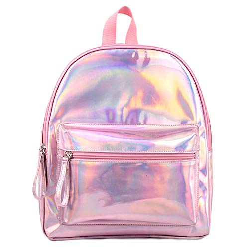 Price comparison product image BAG WIZARD Holographic Laser Mini Backpack Iridescent Color PU Leather Backpacks Bags Casual for Women and Girls Bag