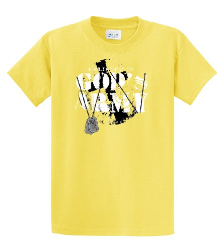 (Christian T-Shirt Enlisted in God's Army-Yellow-XL)