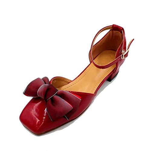 - August Jim Women Flats Shoes,Butterfly-Knot Shallow Heel Flat Black Shoes