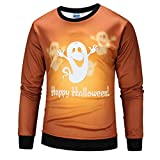 iOPQO Halloween Sweater for Man, Pumpkin 3D Party Long Sleeve Pullover Blouse