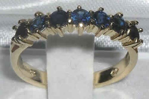 14k Yellow Gold Natural Sapphire Womens Eternity Ring - Sizes 4 to 12 Available