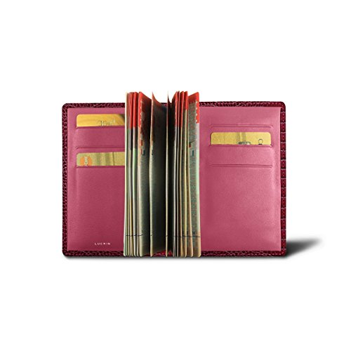 Lucrin - Luxury Passport Holder - Fuchsia - Crocodile style calfskin by Lucrin