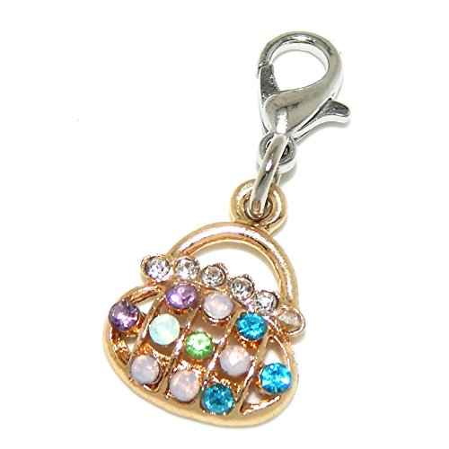 silver-plated-dangling-clip-on-gold-tone-purse-with-multi-colored-rhinestones-bead-charm-pendant
