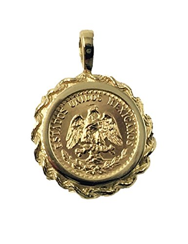 TEX 14K Gold 17Mm Coin Pendant with A 22K Mexican Dos Pesos Coin 5741(Random Year Coin)