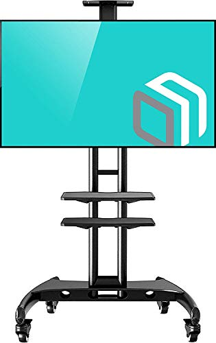 - North Bayou Mobile TV Cart TV Stand with Wheels for 32 to 65 Inch LCD LED OLED Plasma Flat Panel Screens up to 100lbs AVA1500-60-1P (Black 2 Shelves)