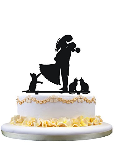 (Cake decoration topper silhouette with three cats)