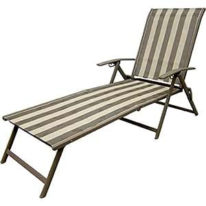 Striped Folding Chair Set of 2 Lounge Seats Adjustable Back Lay Lie Sit Beach Patio Lawn Sunbathe Tan Weatherproof Waterproof Outdoor Seats Steel Frame Brown & eBook by Easy&FunDeals