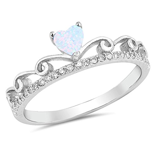 Sterling Silver Women's Colorless Cubic Zirconia White Lab Opal Princess Queen Crown Promise Heart Tiara Ring (Sizes 4-10) (Ring Size 8) ()