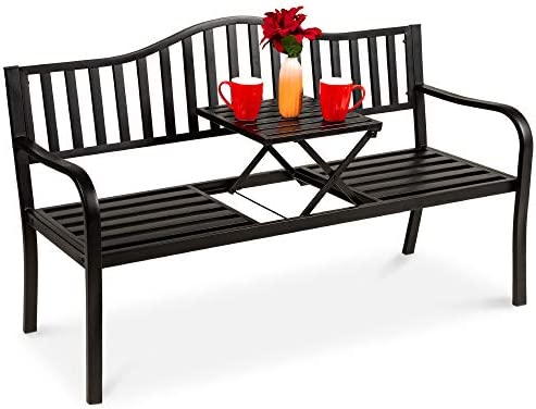 Amazon Com Best Choice Products Double Seat Steel Bench For Outdoor Patio Garden Backyard W Pullout Middle Table Weather Resistant Frame Black Garden Outdoor
