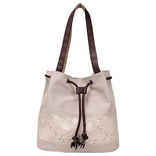 Cotton Hobo Shoulder Bag Ladies Style Women Totes Wocharm Beige Beach Bag Bag Messenger Canvas Bag Shoulder Drawstring Handbag Bohemian Summer fCR775qwx