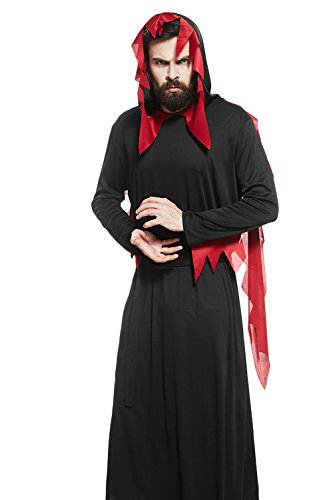 Circus Themed Costumes For Adults (Adult Men Black Devil Costume Satanist Hooded Robe Demon Cosplay Gothic Dress Up (Medium/Large, Black, Red))