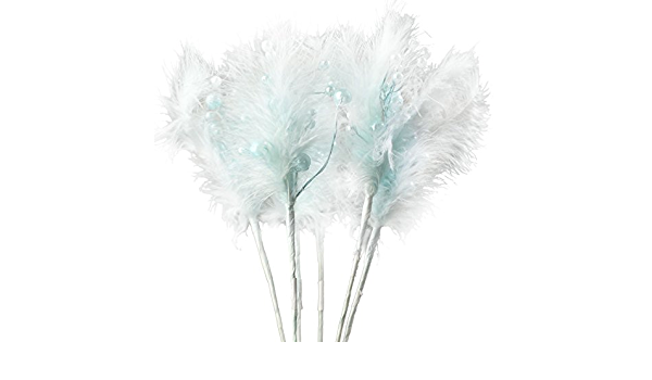 Inspired By Nature Group of 6 Elegant Soft Blue Pearl and Feather Picks Picks