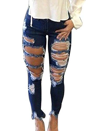 Fori Pantaloni Matita Jeans Immagine Comodi Jean Grosso Alta Fit Strappati Come Vita Donna Slim aTqZnqS