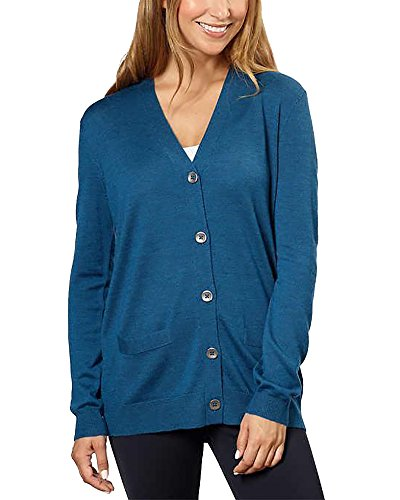 Kirkland Signature Women 100% Extra Fine Merino Wool Cardigan (Blue, Small)