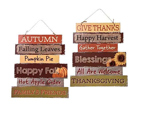 Greenbrier Fall Decoration Hanging Indoor Outdoor Welcome Wood Sign - Thanksgiving and Harvest Blessings - Set of 2