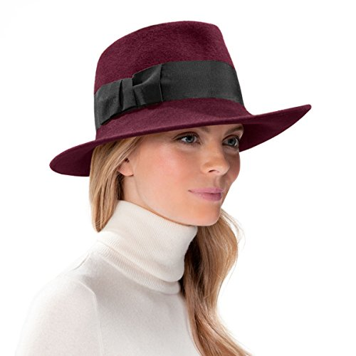 Eric Javits Luxury Fashion Designer Women's Headwear Hat - Profile Fedora -Wine by Eric Javits