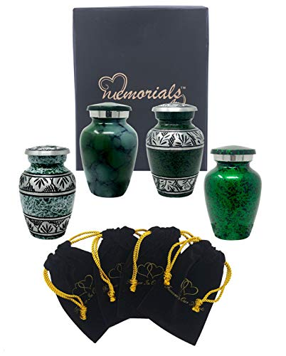 - Forever in Our Hearts Classic Keepsake Urns Set of 4 - Beautiful Shades of Mini Keepsakes - Keepsake Urns - Token Urns - Handcrafted & Affordable Mini Urns for Ashes with 4 Velvet Bags (Green)