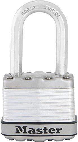 [Gesponsert]MASTER LOCK Hochsicherheits Vorhängeschloss [Schloss mit Schlüssel] [Laminiertem Stahl] [Wetterfest] [Medium Bügel] M1EURDLF - Ideal für Lagerräume, Lagerschuppen, Garagen, Zäune