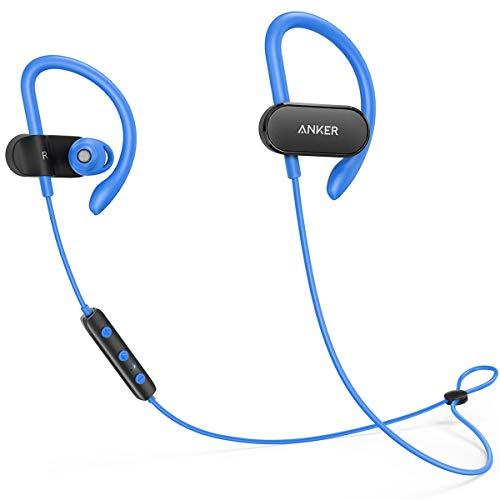 Anker SoundBuds Curve Wireless Headphones, Bluetooth 4.1 Sports Earphones with aptX Audio, Nano Coating, 14H Battery, CVC Noise Cancellation, Headsets (Blue)