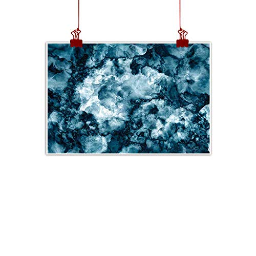 - Sunset glow Wall Painting Prints Marble,Antique Marble Stone with Blurry Distressed Motley Fractal Effects Illustration Artwork,Blue 24