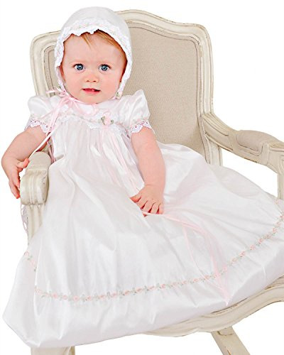 Tess 9 Month Silk Christening Baptism Blessing Gown for Girls, Made in USA