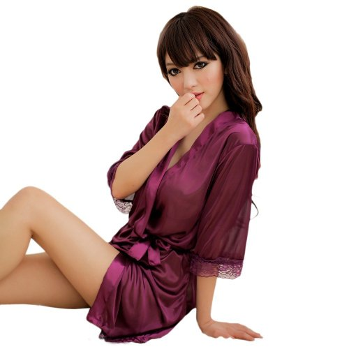 Amour Women's Satin Lingerie Sleepwear Robes Nightwear