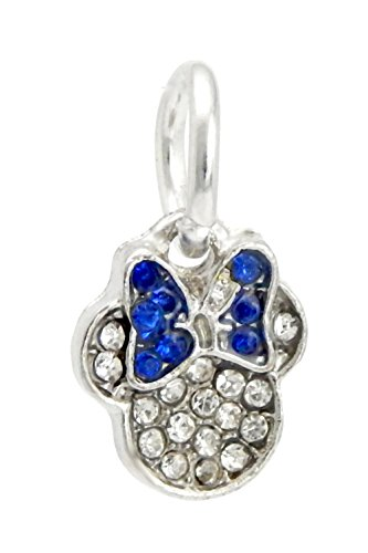 - J&M Dangle Crystal Mouse Head with Sapphire Blue Bow Charm Bead for Charms Bracelets