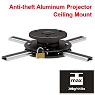Cmple – Slim Adjustable Aluminium Ceiling Mount with Anti-theft For Projector with max weight 44…