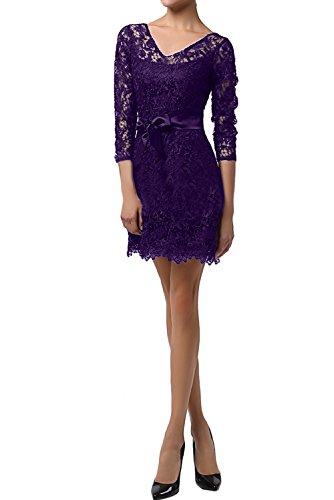 Neck Partykleider Cocktailkleider Abendkleid Band Spitzekleid Sexy Violett Promkleider Kurz V Neu Ivydressing Az6anI