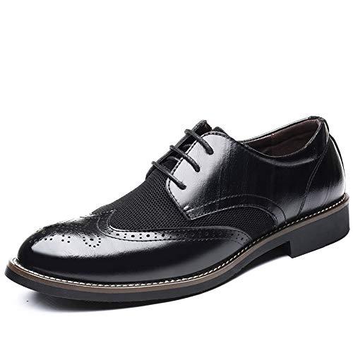 Punta Hombres A 43 Para color Eu Zhrui Clásicos Negro Mano Malla Tamaño Oxford Hechos Zapatos Negro Con Cordones En F4nzp