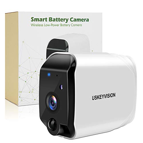 Wireless Battery Powered Outdoor Camera, Battery Security Camera, Rechargeable Wireless Security Camera,Freewire Indoor/Outdoor Security Camera,with 16 GB SD Card,1080P HD Remote APP(USKEYVISION)