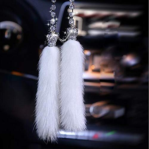 Tassel Car - Carmen Car Pendant Sparkling Crystal Charm Car Interior Accessories Rear View Mirror Hanging Jewelry Premium Fur Ornaments (Crown)