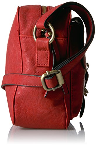 of Dark Faux Veg Flap Red Crossbody Tan California Leather Bueno Bueno dawCxqd